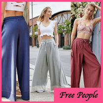 Free People Casual Style Plain Cotton Long Wide Leg Pants