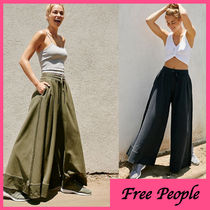 Free People Casual Style Plain Cotton Long Khaki Wide Leg Pants