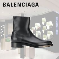 BALENCIAGA Plain Toe Plain Leather Engineer Boots