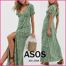 ASOS Flower Patterns Dots Casual Style Maxi Blended Fabrics