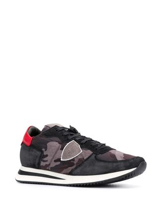 Camouflage Suede Street Style Logo Sneakers