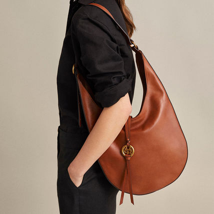 Plain Leather Office Style Handbags