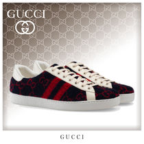 GUCCI Ace Stripes Unisex Blended Fabrics Street Style Sneakers