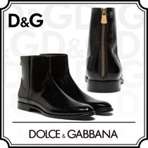 Dolce & Gabbana Studded Plain Leather Chelsea Boots Chelsea Boots