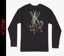 RVCA Crew Neck Flower Patterns Street Style Long Sleeves