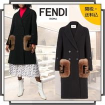 FENDI Wool Blended Fabrics Plain Long Midi Elegant Style