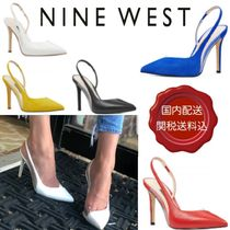 Nine West Open Toe Blended Fabrics Plain Leather Pin Heels Party Style