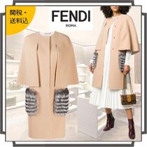 FENDI Wool Blended Fabrics Bi-color Plain Long Midi Elegant Style