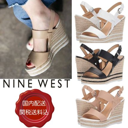 Open Toe Casual Style Blended Fabrics Leather