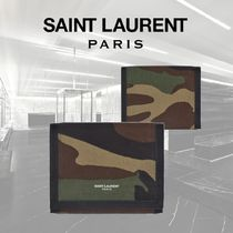 Saint Laurent Camouflage Nylon Street Style Folding Wallets