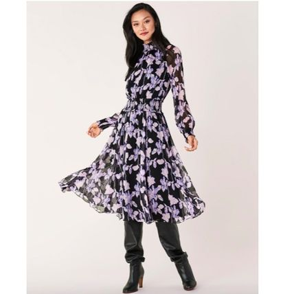 Flower Patterns Silk Flared Long Sleeves Medium Party Style