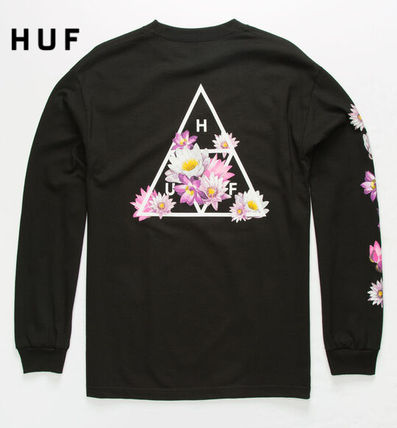 Crew Neck Flower Patterns Street Style Long Sleeves