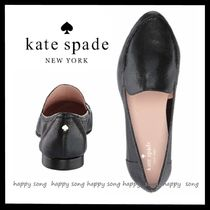 kate spade new york Plain Leather Elegant Style Loafer Pumps & Mules