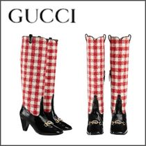 GUCCI Other Check Patterns Plain Toe Tweed Blended Fabrics