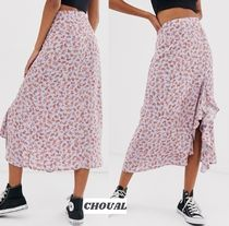 New Look Flower Patterns Medium Elegant Style Midi Skirts
