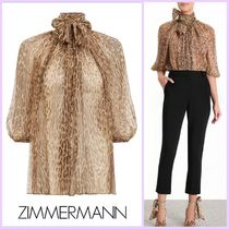 Zimmermann Leopard Patterns Silk Cropped Medium Oversized