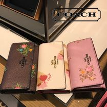 Coach Flower Patterns Leather Keychains & Bag Charms