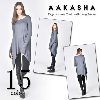 Aakasha U-Neck Long Sleeves Plain Medium Tunics