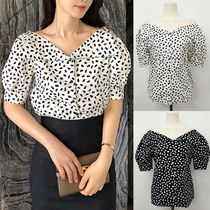 Leopard Patterns Casual Style Puffed Sleeves Street Style