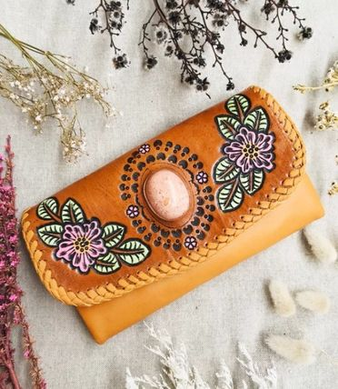 Flower Patterns Tropical Patterns Studded Leather Handmade