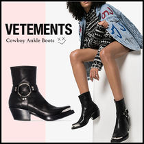 VETEMENTS Casual Style Leather Block Heels Ankle & Booties Boots