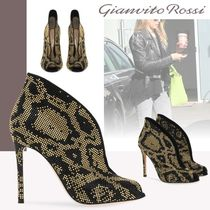 Gianvito Rossi Open Toe Suede Pin Heels Python Elegant Style