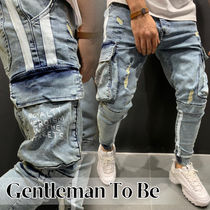 Gentleman To Be Stripes Street Style Plain Cotton Jeans & Denim