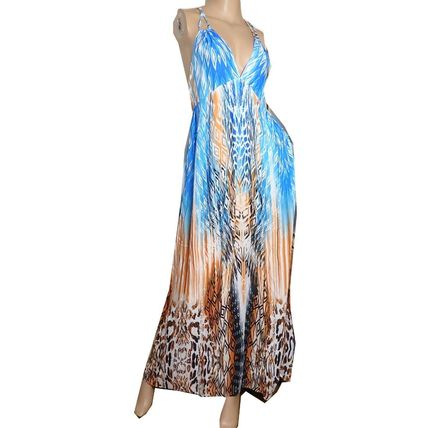 Tropical Patterns Flared Long Dresses
