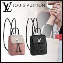 Louis Vuitton LOCKME 2WAY Plain Leather Elegant Style Backpacks