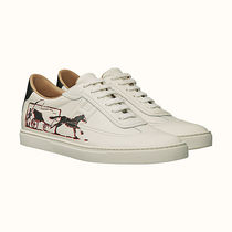 HERMES Street Style Plain Leather Sneakers