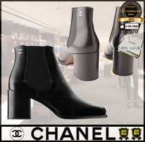 CHANEL Unisex Street Style Plain Boots Boots