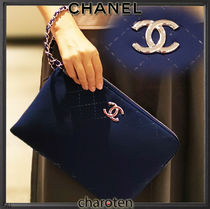 CHANEL ICON Unisex 2WAY Chain Plain PVC Clothing Clutches