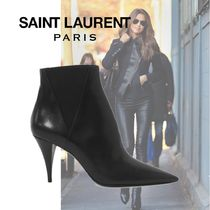 Saint Laurent Blended Fabrics Plain Leather Pin Heels Elegant Style