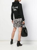 CELINE Short Unisex Street Style Long Sleeves Plain Cotton Cropped