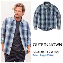 Ron Herman Button-down Other Check Patterns Unisex Long Sleeves Cotton