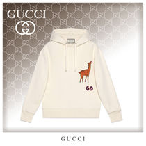 GUCCI Unisex Long Sleeves Cotton Oversized Hoodies