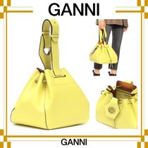Ganni Casual Style Plain Leather Purses Totes