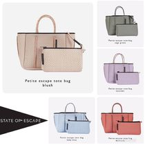 State of Escape Casual Style 2WAY Plain Handmade Totes