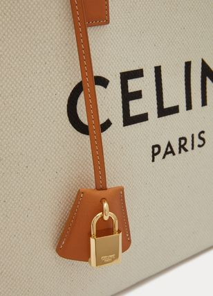CELINE Cabas Casual Style Calfskin A4 Plain Logo Totes