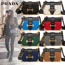 PRADA CAHIER Calfskin 3WAY Bi-color Elegant Style Shoulder Bags