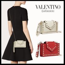 VALENTINO Studded Chain Plain Leather Smart Phone Cases