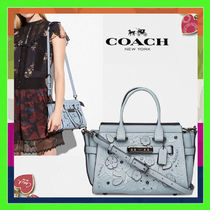 Coach SWAGGER Flower Patterns 2WAY Leather Elegant Style Handbags