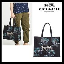 Coach Tropical Patterns Unisex Canvas Street Style A4 Oversized