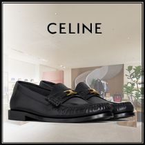CELINE Plain Leather Block Heels Office Style Loafer Pumps & Mules