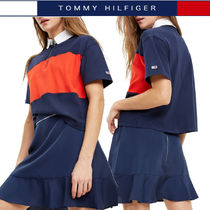 Tommy Hilfiger Stripes Casual Style Cotton Medium Short Sleeves Polo Shirts