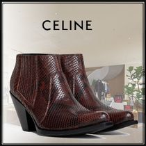 CELINE Leather Block Heels Python Elegant Style