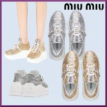 MiuMiu Rubber Sole Casual Style Plain Leather Logo Low-Top Sneakers