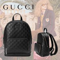 GUCCI Gucci Signature Leather Unisex Backpacks