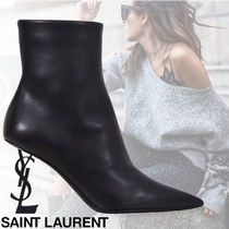 Saint Laurent OPYUM Plain Leather Elegant Style Ankle & Booties Boots