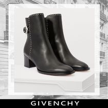 GIVENCHY Round Toe Plain Leather Block Heels Ankle & Booties Boots